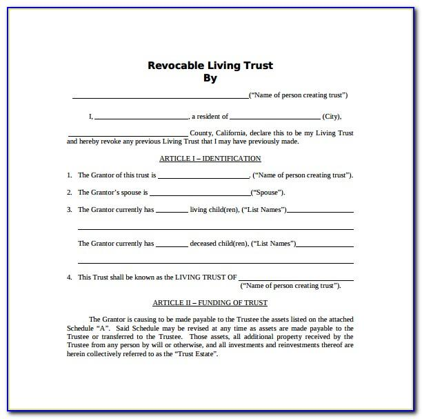 Irrevocable Living Trust Form Arizona