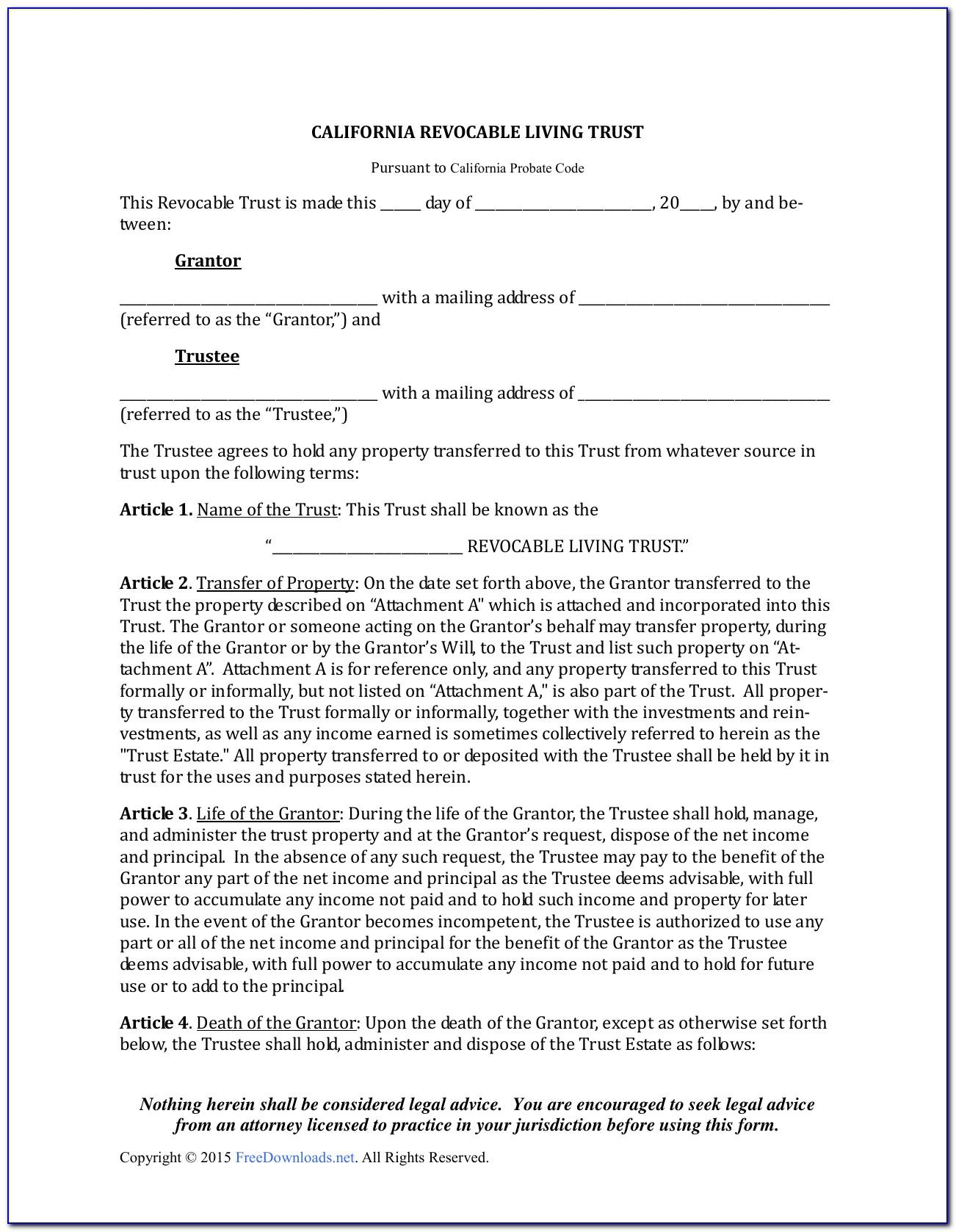 Irrevocable Living Trust Form Florida