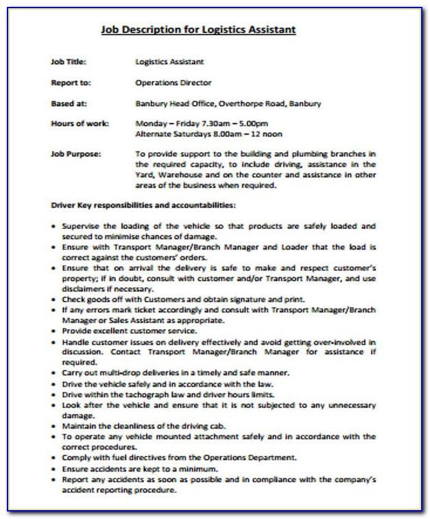 Job Description Template For Logistics Coordinator