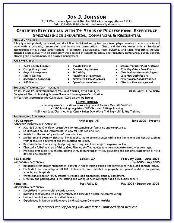 Journeyman Electrician Resume Example
