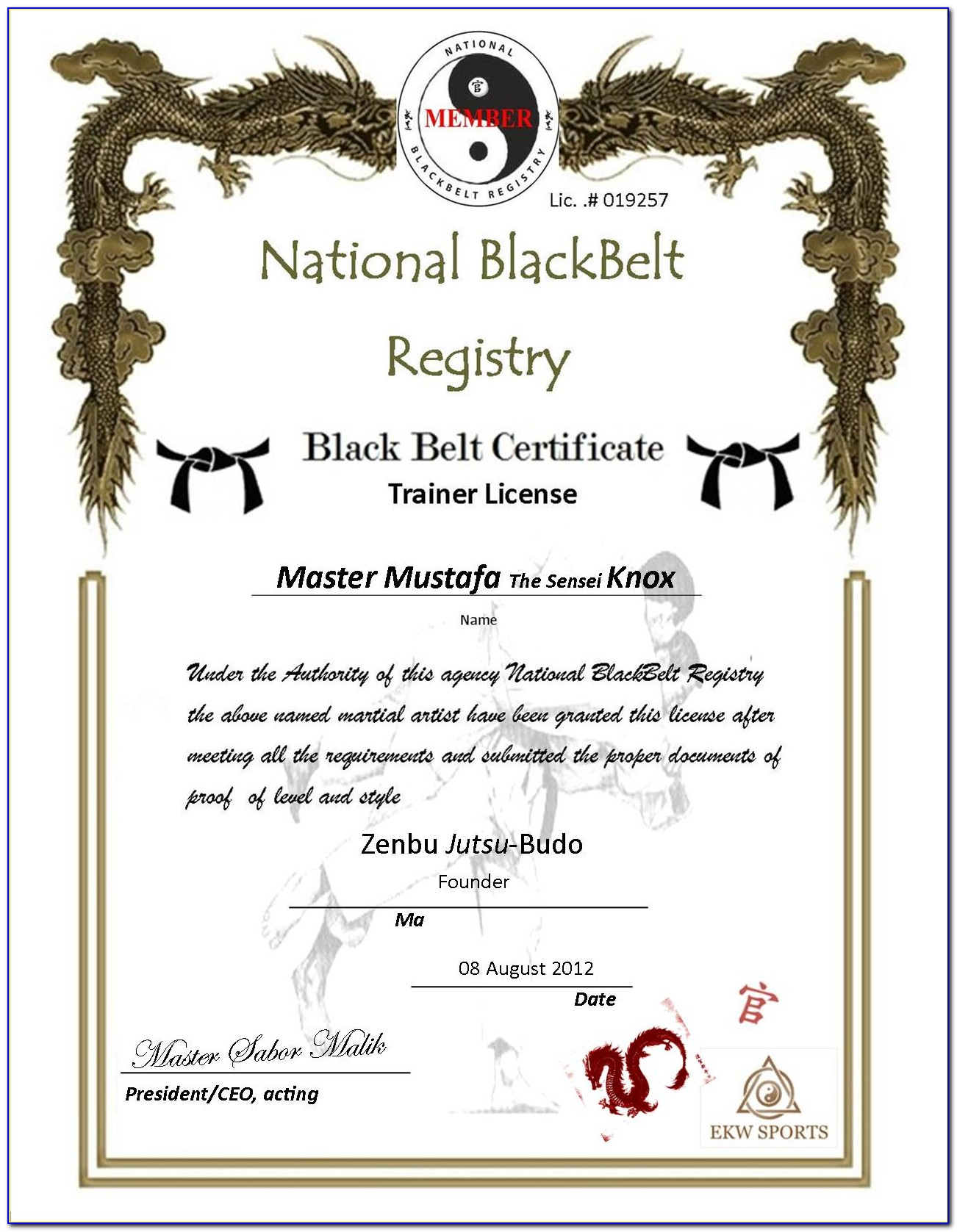 Karate Certificate Templates Free Download