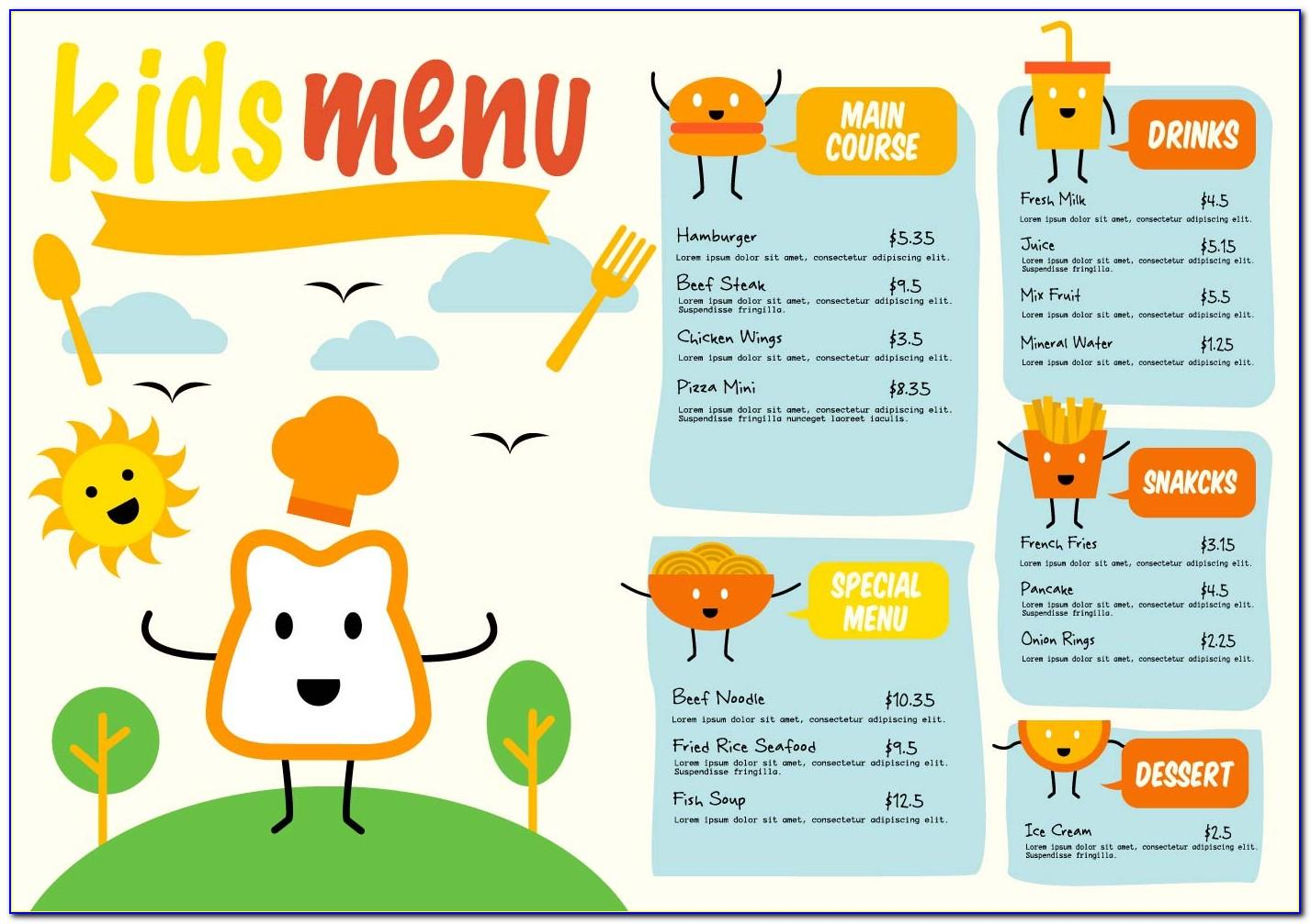 Kid Menu Template Free