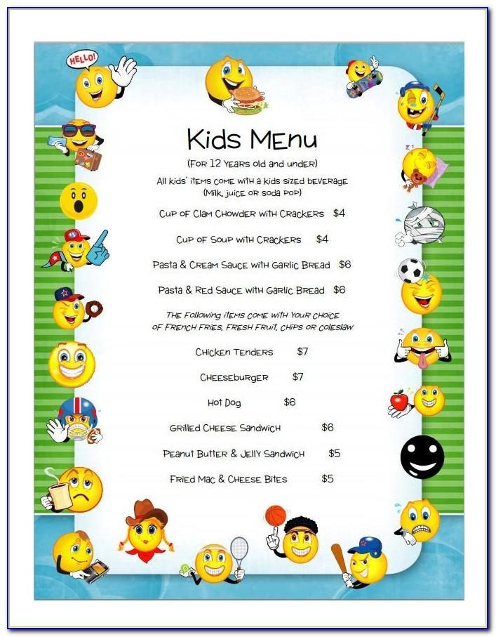 Kids Menu Template Free