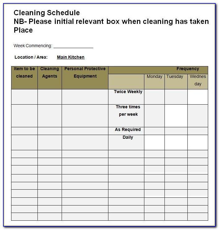 Kitchen Cleaning Checklist Template Excel