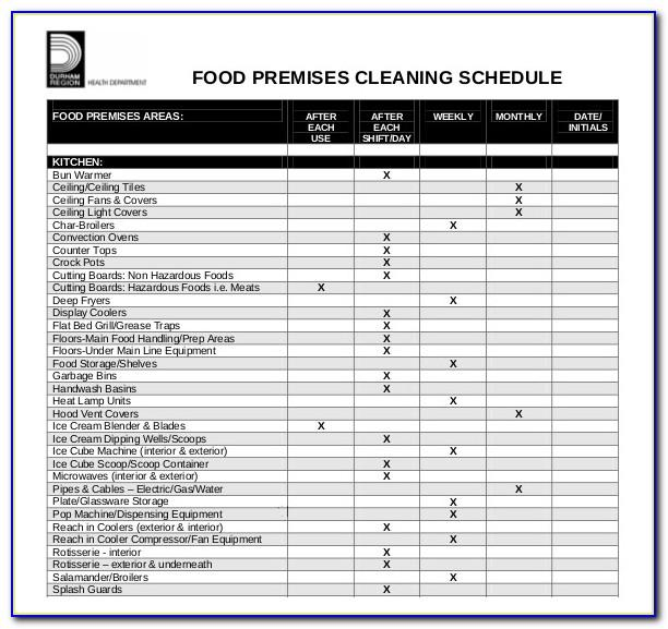 Kitchen Cleaning Schedule Template Editable