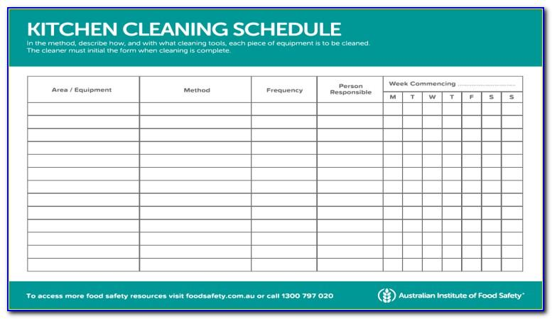 Kitchen Cleaning Schedule Template Excel Free