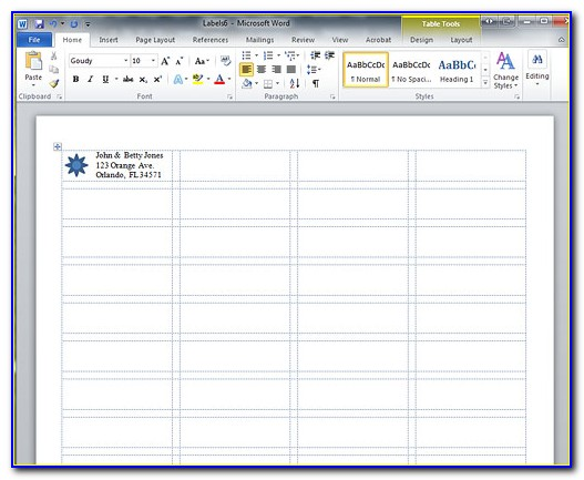 Labels Template Microsoft Word