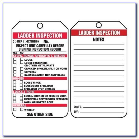 Ladder Inspection Tag Template