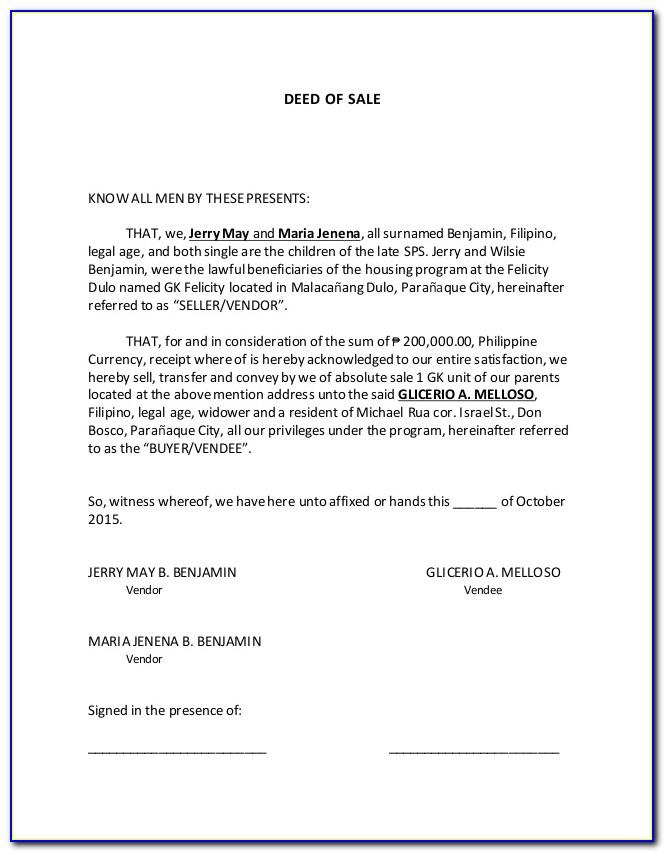 Land Deed Of Sale Template Philippines