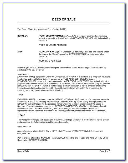 Land Deed Of Sale Template