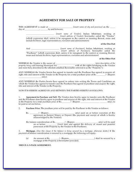 Land Sale Agreement Sample India In Hindi