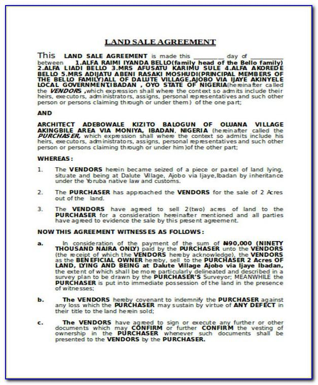 Land Sale Agreement Template South Africa