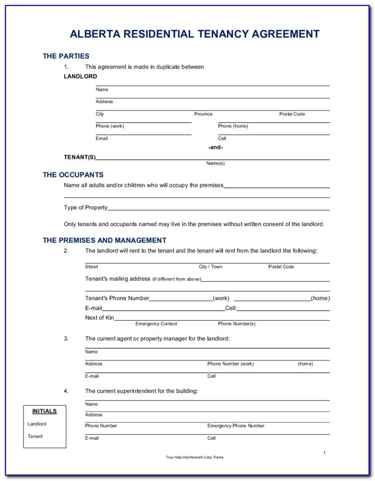 Landlord And Tenant Rental Agreement Forms Alberta