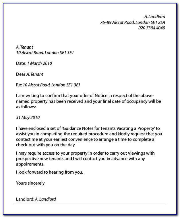 Landlord Ending Tenancy Letter Template Uk