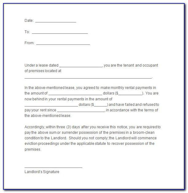 Landlord Notice Of End Of Tenancy Letter Example Uk