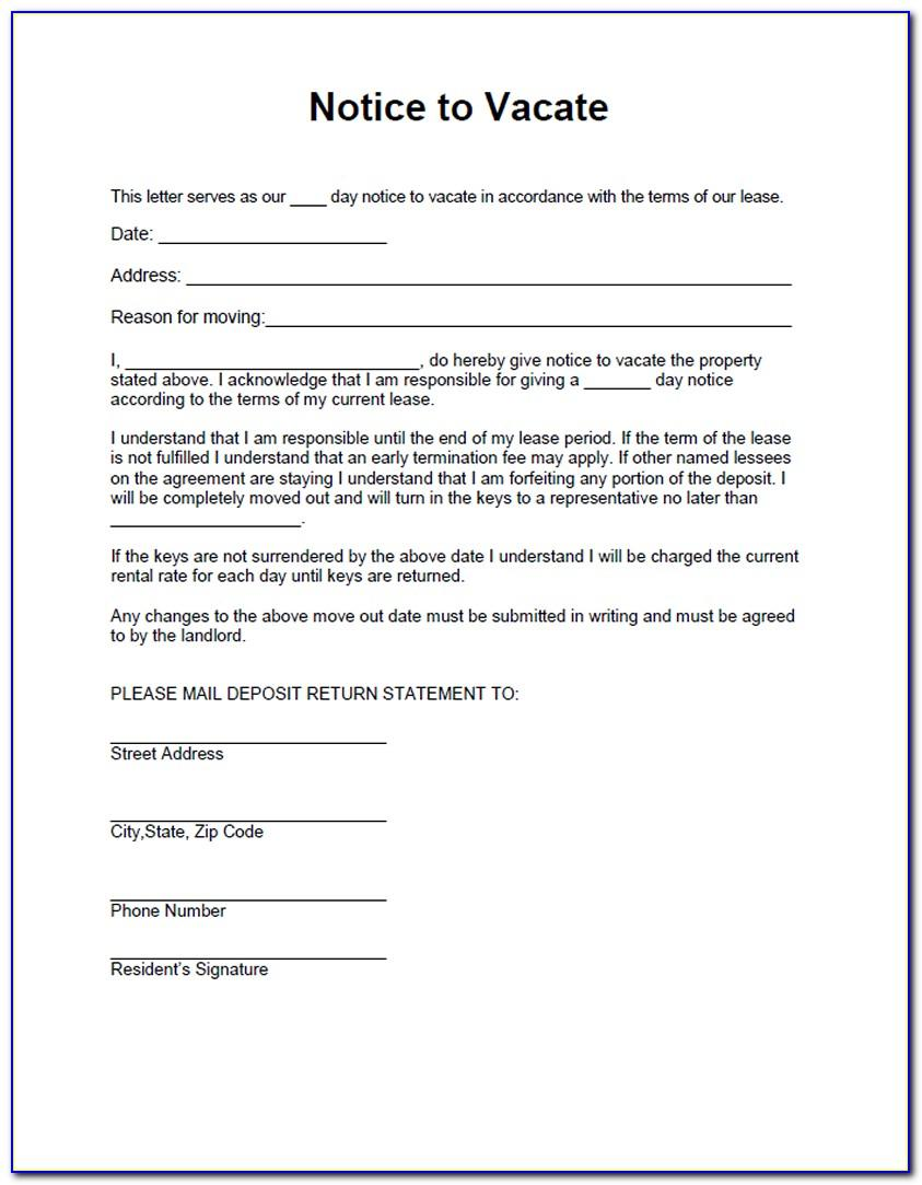 Landlord Notice To Tenant To Vacate Sample Letter