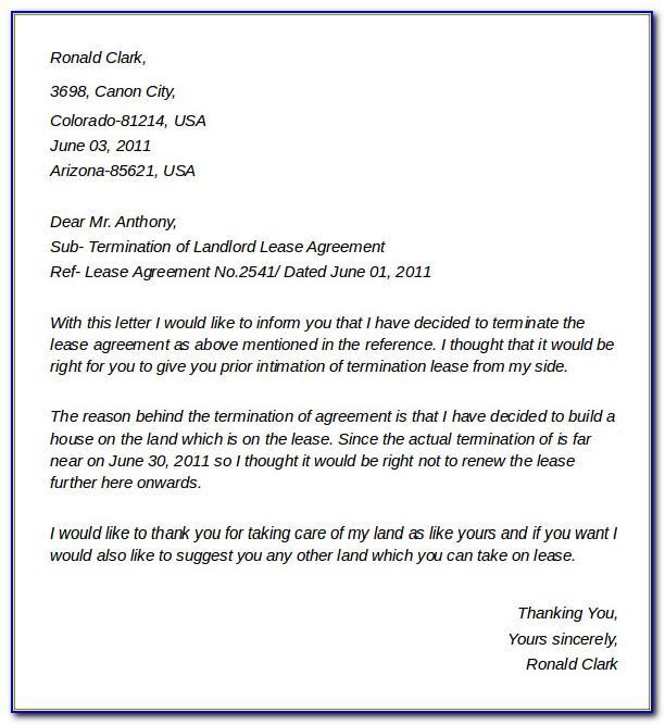 Landlord Rental Agreement Termination Letter