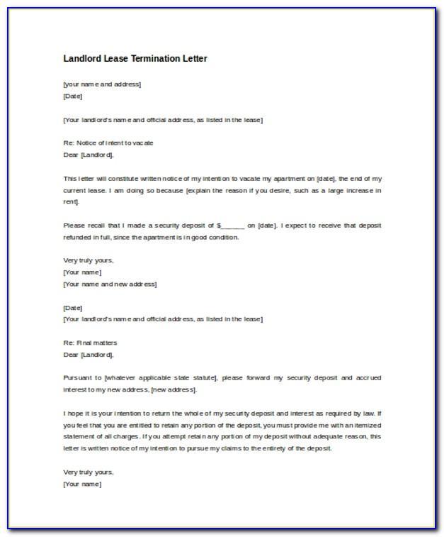 Landlord Tenancy Agreement Termination Letter