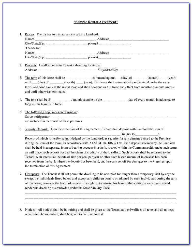 Landlord Tenant Agreement Contract