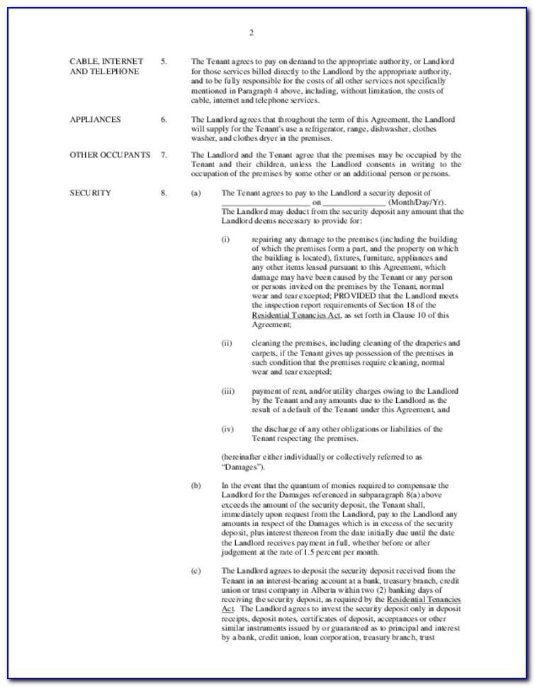 Landlord Tenant Lease Agreement Alberta
