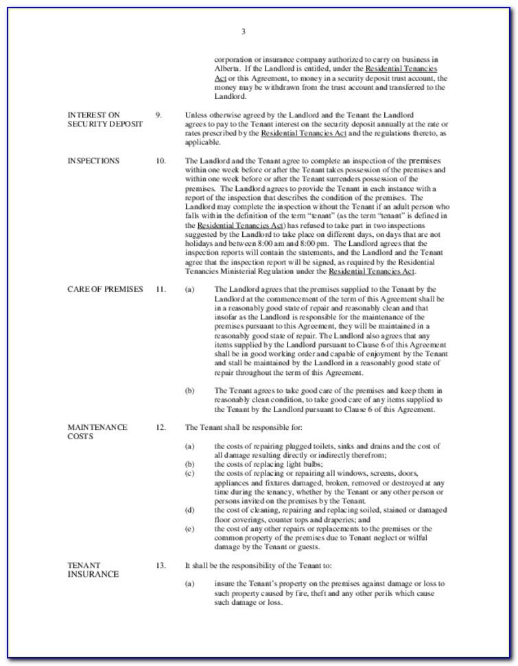 Landlord Tenant Lease Agreement Form Alberta