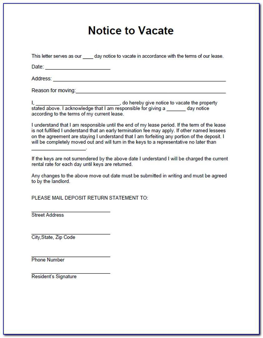 Landlord Tenant Notice To Quit Form