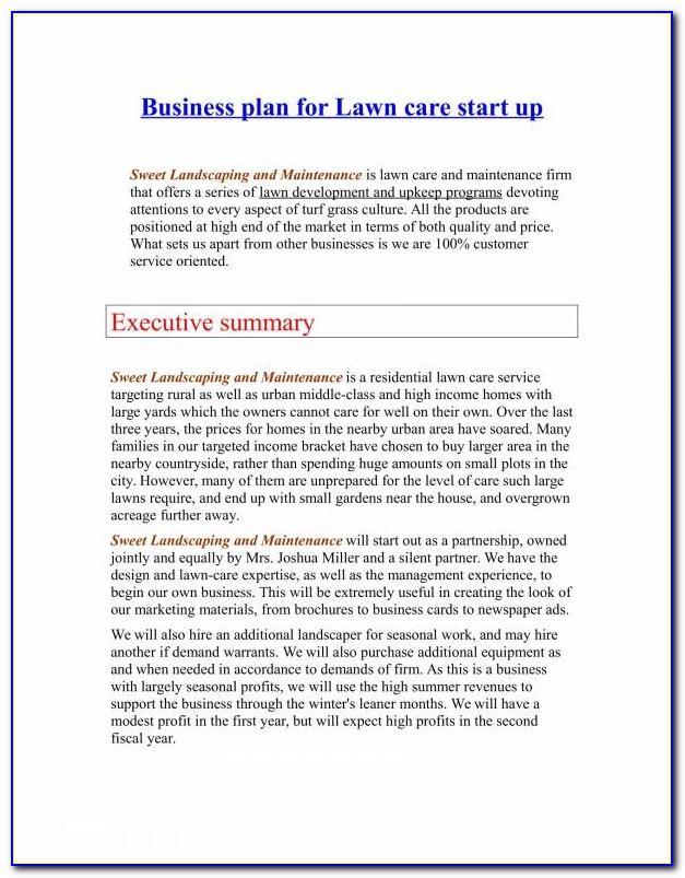 Landscape Gardening Business Plan Template