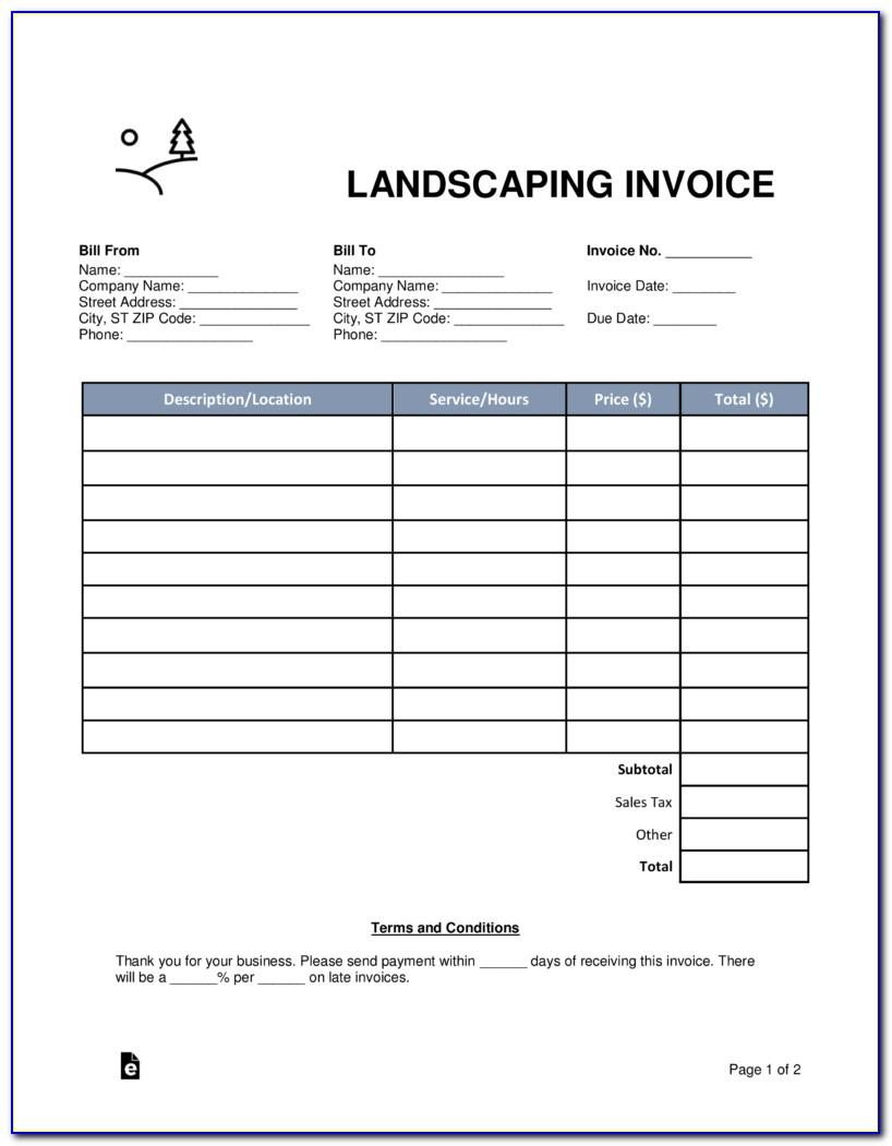 Landscape Invoice Template Word