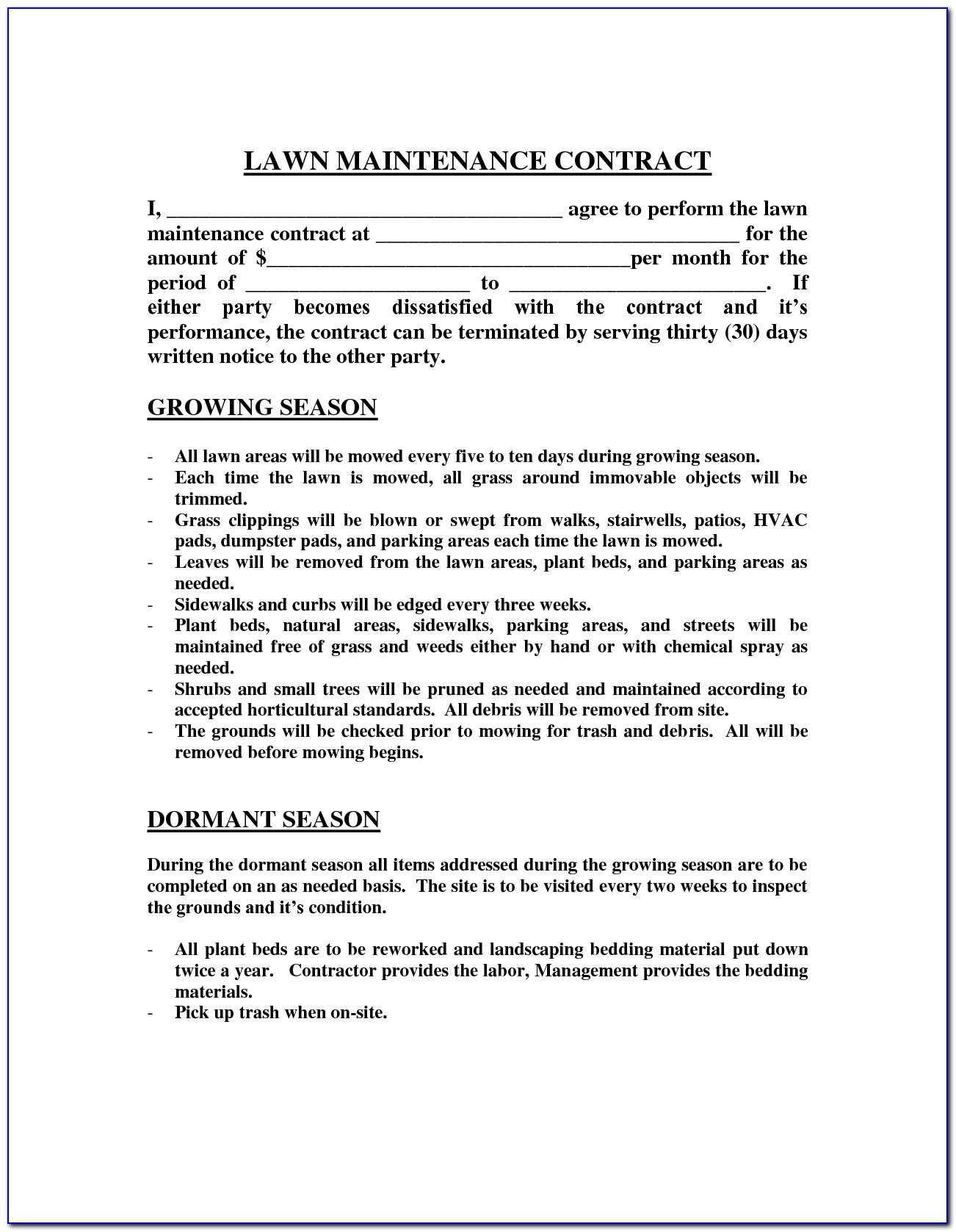 Landscape Maintenance Bid Template