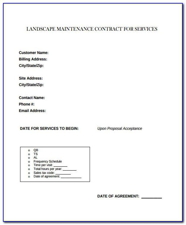 Landscaping Contract Template Pdf