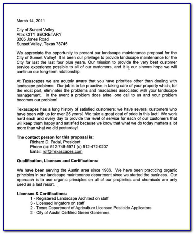 Landscaping Proposal Sample Letter