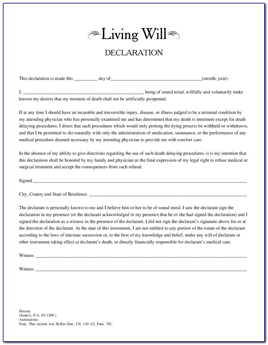 Last Living Will And Testament Template