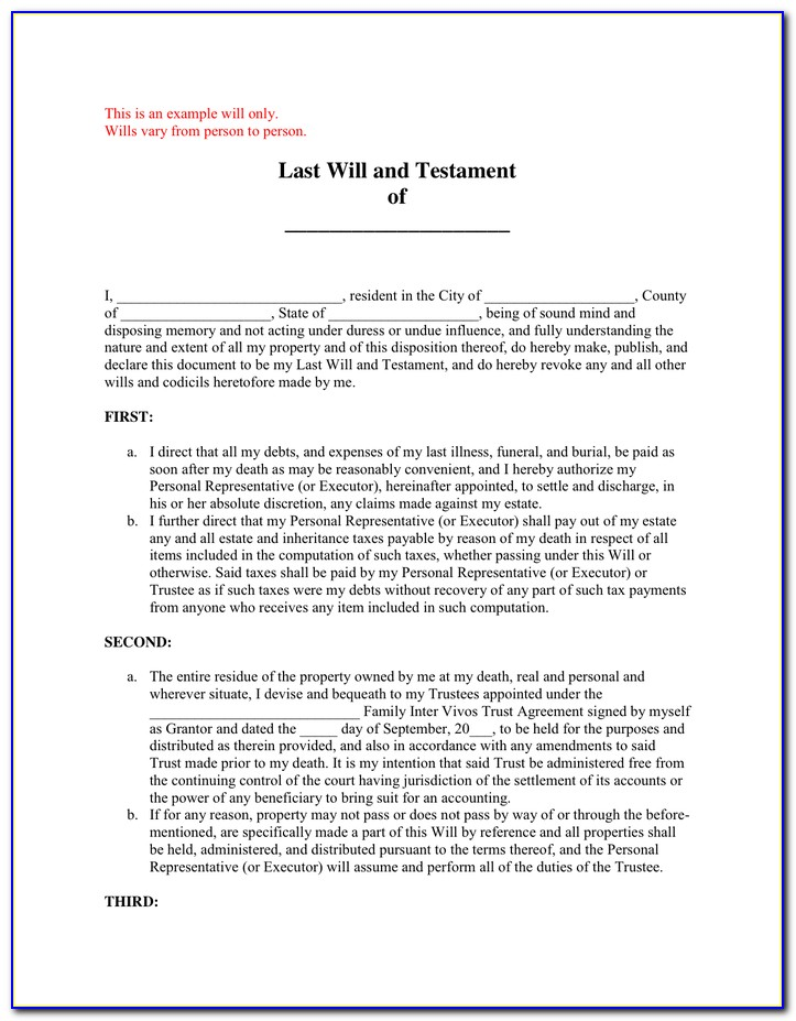Last Will And Testament Blank Forms Texas