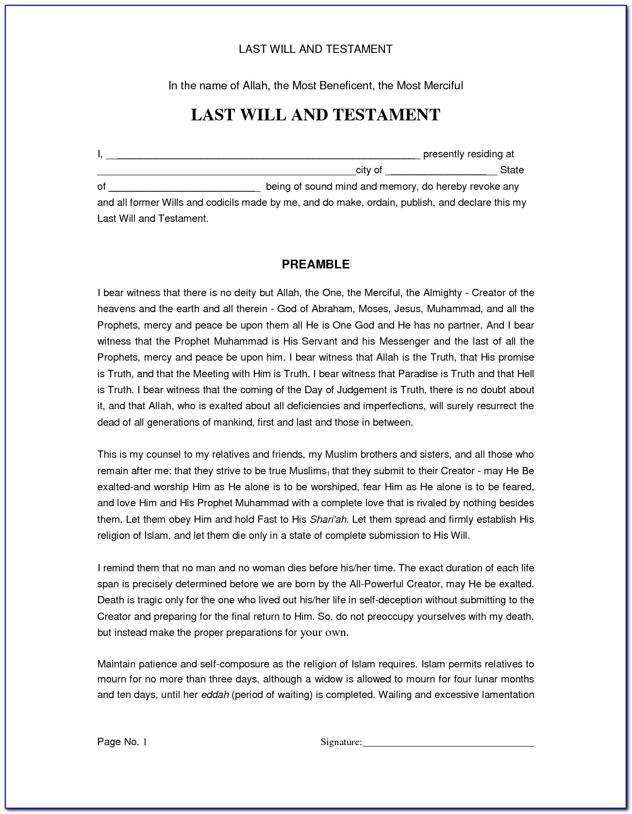 Last Will And Testament Florida Example