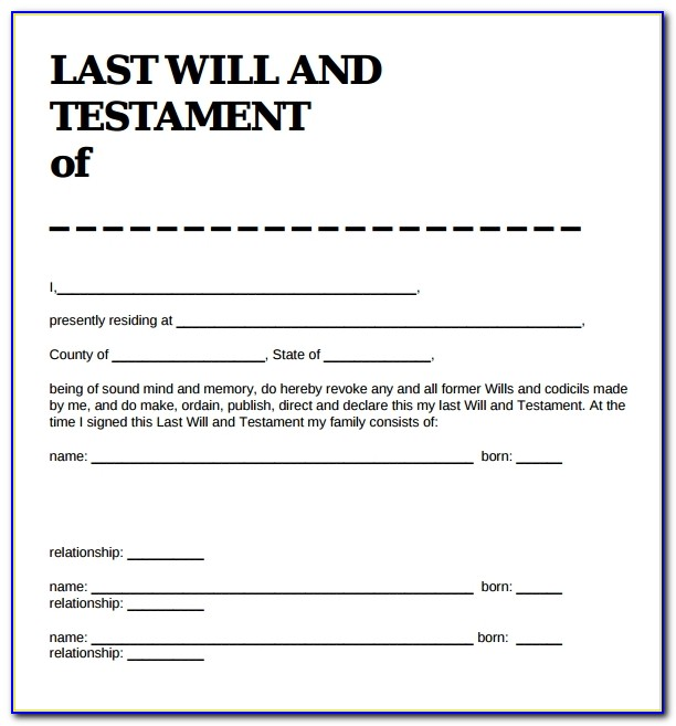 Last Will And Testament Form Texas Template