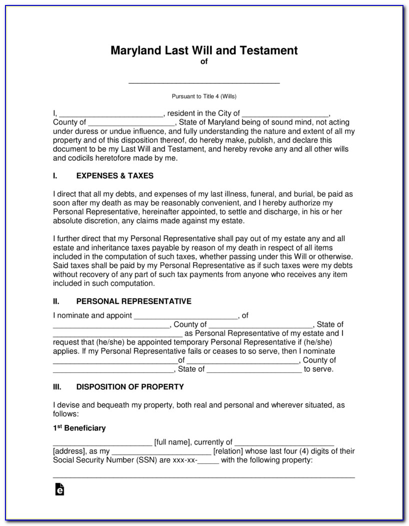 Last Will And Testament Free Template Maryland
