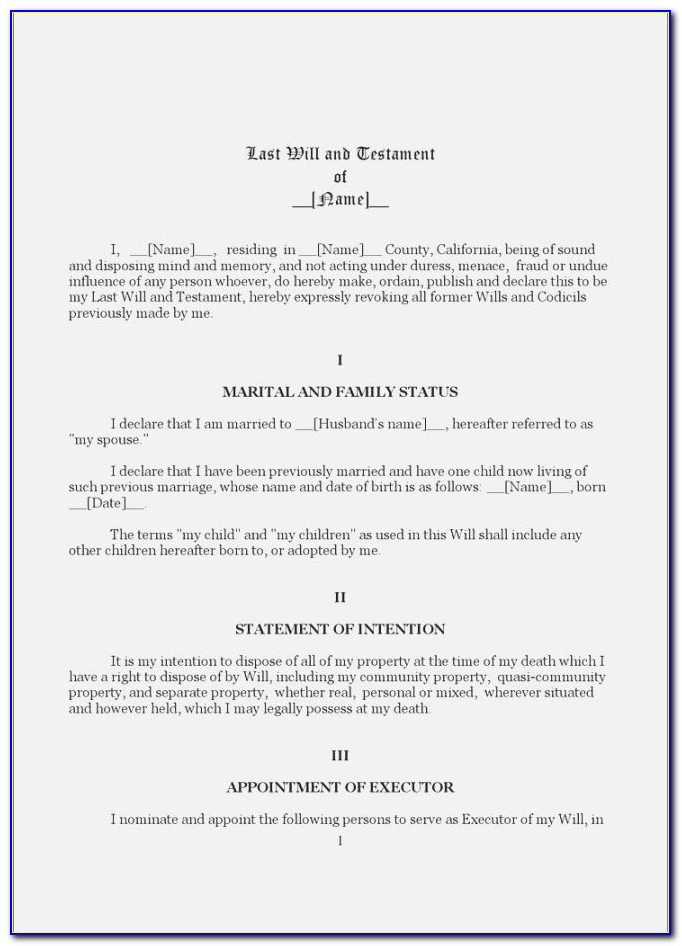 Last Will And Testament Free Template Uk Law