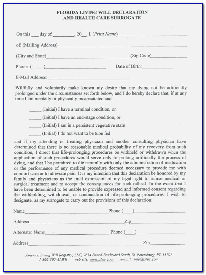 Last Will And Testament Template Florida