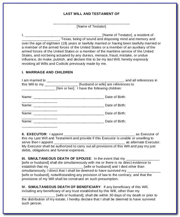 Last Will And Testament Template Microsoft Word Canada