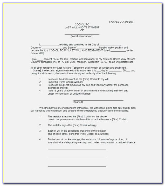 Last Will And Testament Template Ontario Free