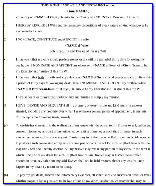 Last Will And Testament Template South Africa Pdf