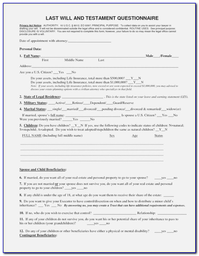 Last Will And Testament Template Virginia