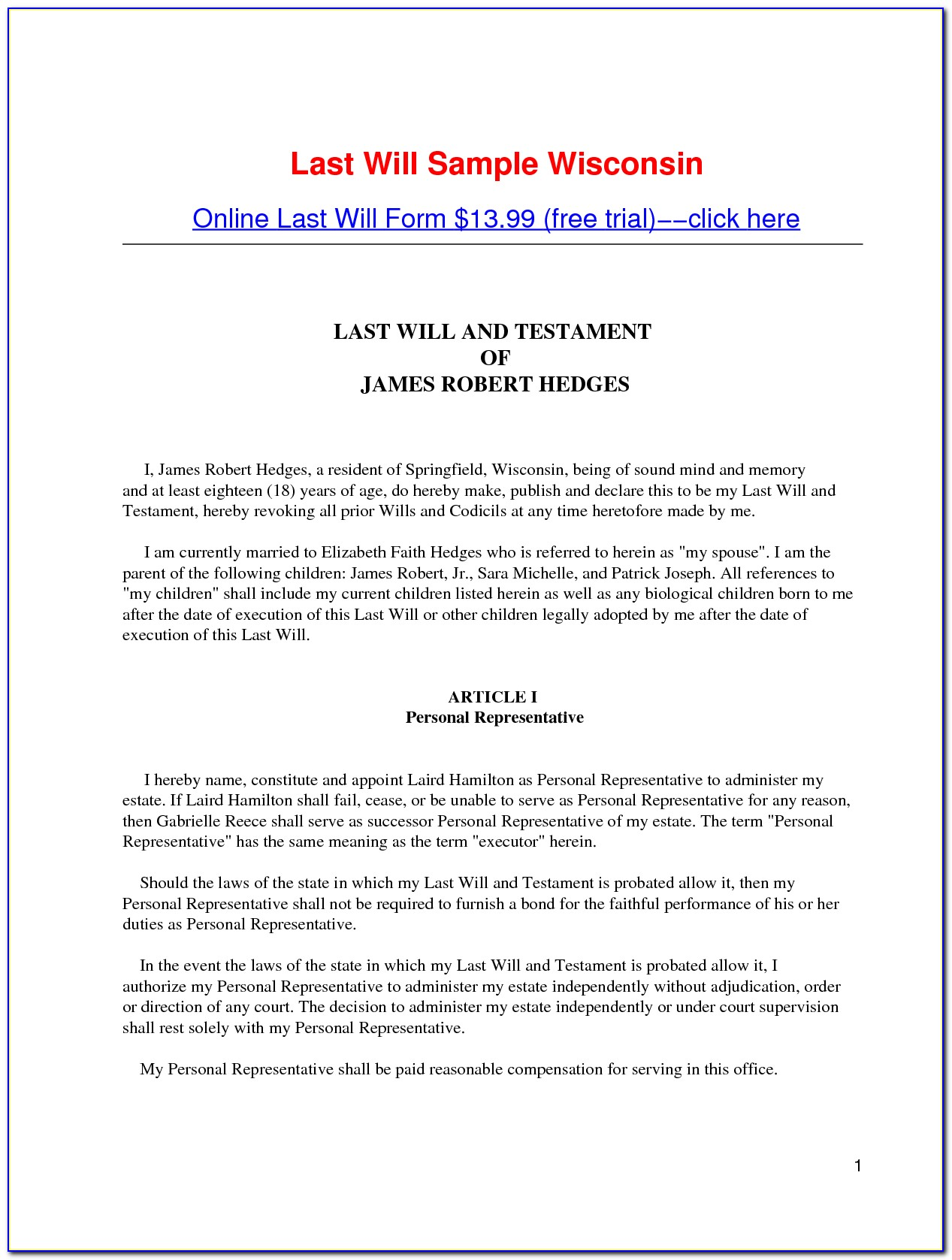 Last Will And Testament Texas Free Form