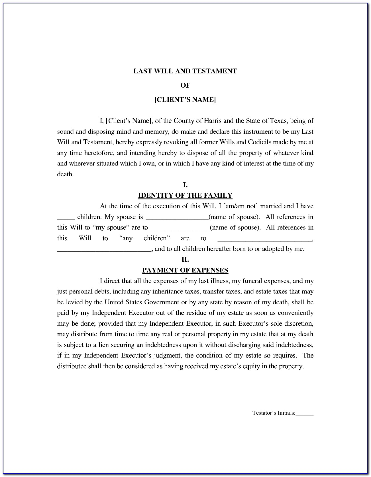Last Will And Testament Texas Free Template