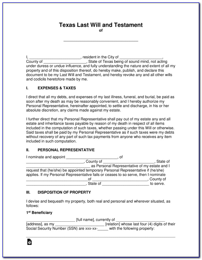 Last Will And Testament Texas Laws