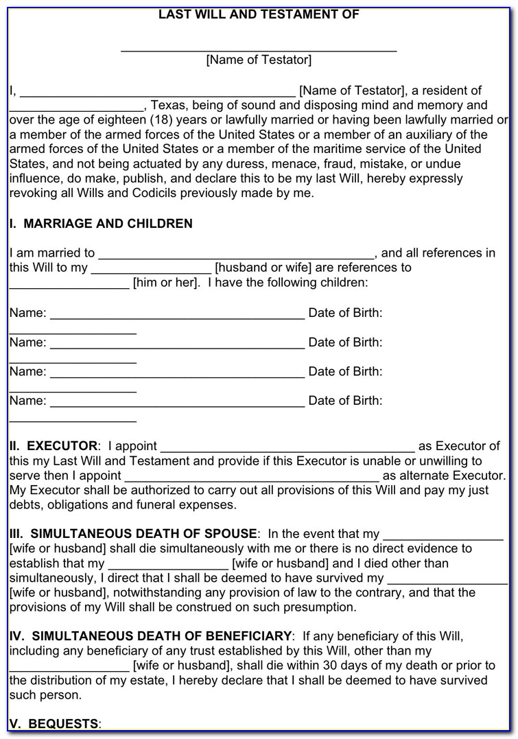 Last Will And Testament Texas Requirements