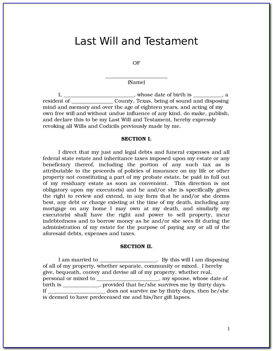 Last Will And Testament Texas Word Doc