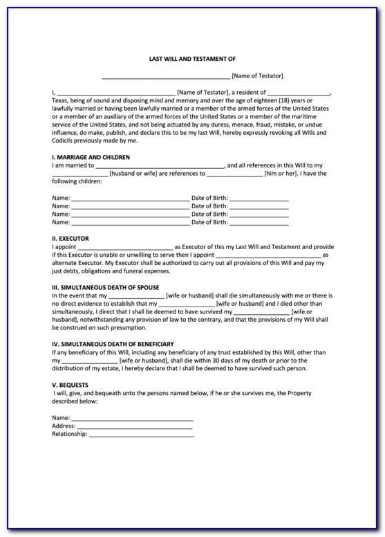 Last Will And Testament Virginia Template