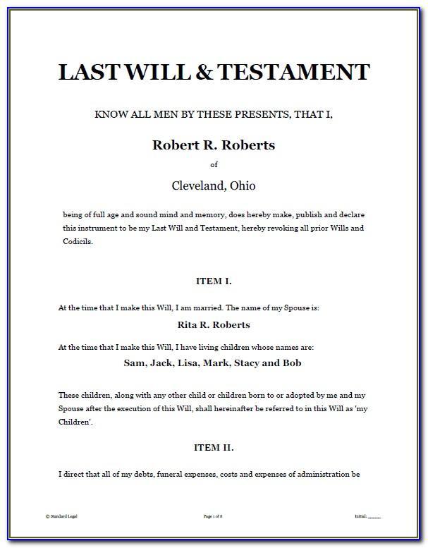 Last Will And Testament Word Template Australia