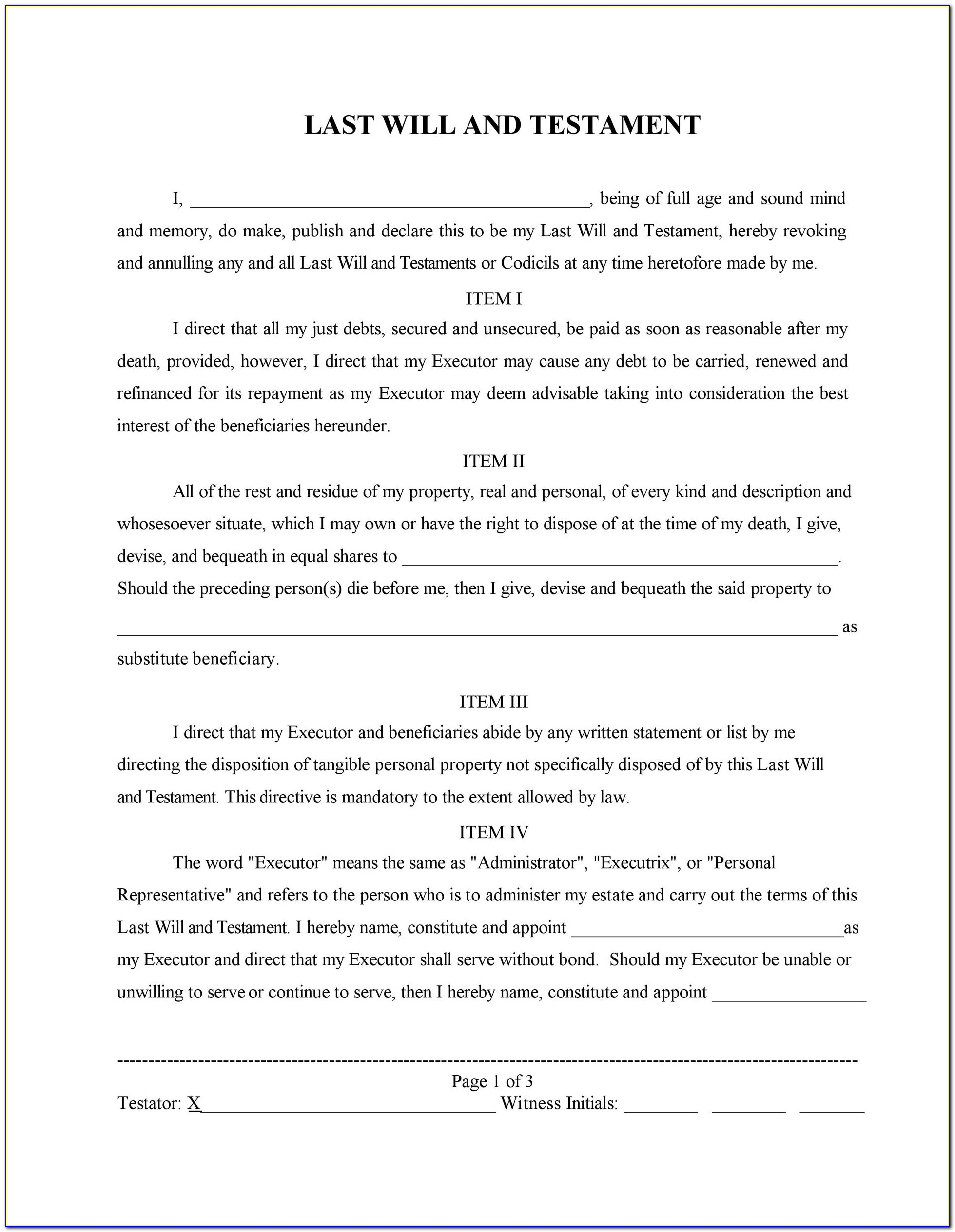 Last Will And Testament Word Template South Africa